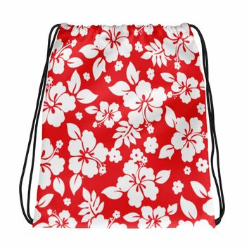 Hawaiian Tropical Hibiscus Red and White Pattern Drawstring bag