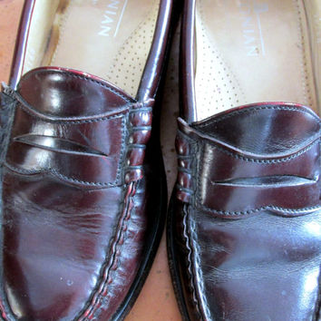 Vintage Penny Loafers Red Brown Leather Bostonian Hipster Men's Dress Shoes Sz 7.5 D Made USA