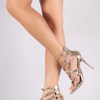 Metallic Open Toe Tubular Strappy Stiletto Heel
