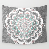 Pastel Floral Medallion on Faded Silver Wood Wall Tapestry by Tangerine-Tane