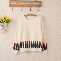 Casual Lipstick Pattern Long Sleeve Knitted Sweater