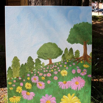 Springtime Daisy Field- hand painted on 18x24 in canvas