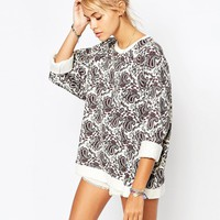 Element Boyfriend Sweatshirt In All Over Paisley Floral Print Co-Ord