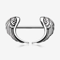 A Pair of The Fallen Angel Wing Nipple Barbell Ring