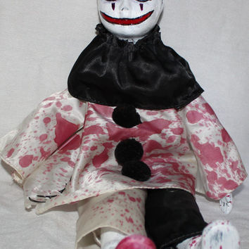 Creepy Clown OOAK Doll Haunted Bloody Horror Poltergeist Circus Gothic Mime