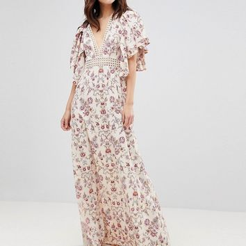 ASOS Floral Wallpaper Maxi Dress with Broderie Trim at asos.com