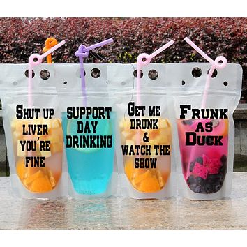 Drink Pouches with Funny Sayings Reusable Travel Flask with Plastic - More Sayings Available