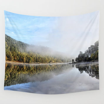 Reflections on a loch, Western Highlands,Scotland Wall Tapestry by anipani