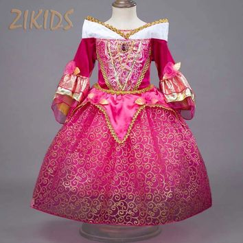 Noble Sleeping Beauty Girl Dress Anna Elsa Cosplay Costume for Party Festival Girls Princess Aurora Dresses Kids Clothes 2017