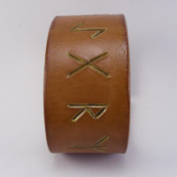 Eldar Futhark Rune Bracelet Protective chams carved in leather Wrist Cuff Durable 8 oz Leather Hand Made in USA