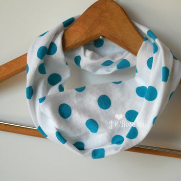 Toddler Infinity Scarf, Aqua Dots on White, Tissue Weight, Spring or Summer Boho Scarf, Childs Accessory in Size 12 months,2T, 3T, 4T, 5/6