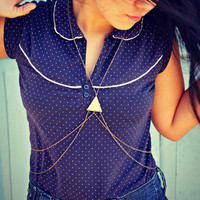 single triangle body chain in antique brass, triangle necklace, geometric necklace, body harness, body jewelry,