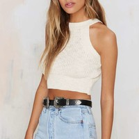 Smash Knit Ribbed Crop Top - Ivory