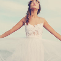 Magical white lace wedding dress with soft tulle skirt and invisible neck line