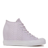 Converse Chuck Taylor All Star Lux Embossed Reptile Mid Top Sneaker Wedges in White