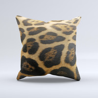 Real Thin Vector Leopard Print  Ink-Fuzed Decorative Throw Pillow