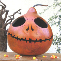 Gourd Jack O Lantern Halloween Hand Carved Candy Bowl Jack Skellington (inspired by Tim Burton)