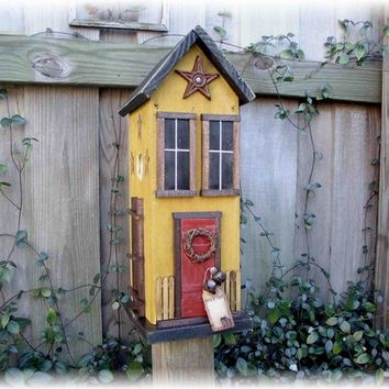 Primitive Folk Art Mustard Yellow Birdhouse
