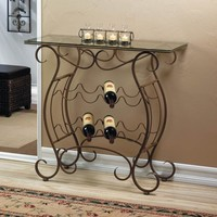 Vineyard Design Metal And Glass Wine Rack Table