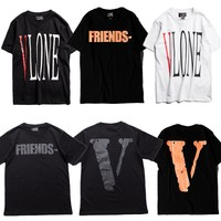 Vlone T-shirts Men Women 1:1 High Quality Pop up Papking Fragment Top Tees Fashion T shirt V Friends Vlone T-shirts