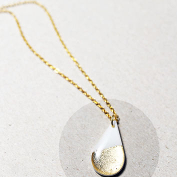 dainty drop pendant white and gold pendant white jewellery autumn jewellery minimalist pendant gift idea for her modern gold jewelry