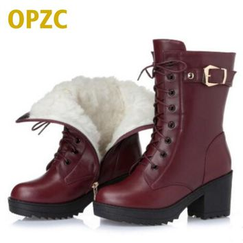 High-heeled genuine leather women winter boots, thick wool warm women Martin boots, high-quality female snow boots