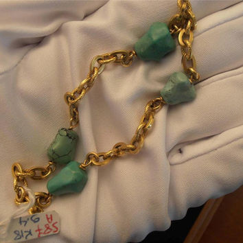 Vintage 18k yellow gold bracelet with turquoise 8.5""