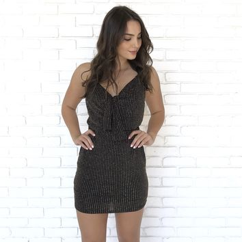 Shine & Shimmer Front Tie Dress