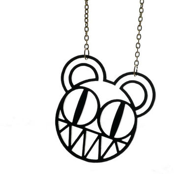 Radiohead Necklace - Thom Yorke - Modified Bear - Kid A - Recycled Laser Cut Plexiglass Necklace - Wasted Faced Stars - Rockstar Necklace