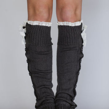 Grey Leg Warmers Button Down Lacy Ruffle Trim in Dark Grey