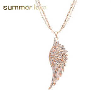 Luxury Crystal Feather angel wings Necklace Pendant Long Multilayer Chain Statement Jewelry Gift for Women Collares Mujer 2018