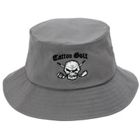 Bucket Golf Hat w/ Skull Design (Grey)