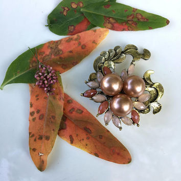 Leaf Vine Brooch Vintage Peach and Gold Sparkly Rhinestone and Faux Pearl Pin Fall Woodland Style Jewelry Fancy Light Orange Plant Themed