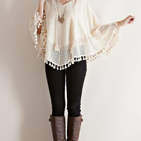 V-Neck Crochet Lace Poncho - Natural