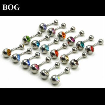 DCCKHY9 BOG-Lot 18pcs  Surgical Steel Double CZ Crystal Belly Button Ring Navel Piercing Barbell Stud Bar Body Jewelry