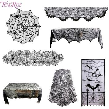 FENGRISE Black Lace Spiderweb Table Cloth Bat Curtain Scarf Halloween Decoration Accessories Dark Vampire Gothic Vintage Decor