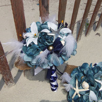 Starfish Wedding Bouquet, Seashell Bouquet,Nautical, Destination Wedding,  Feather and Hydrangea Bouquet