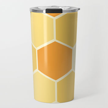 Yellow Honeycomb Travel Mug by spaceandlines