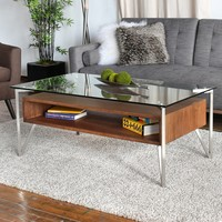 C & M Glass And Wood Coffee Table