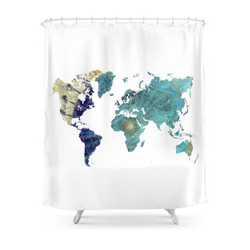 Society6 World Map Wind Rose Shower Curtains