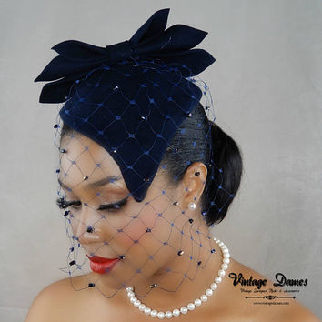Navy Blue Felt Hat, Wool Felt Cap for Women, 1950's Blue Fascinator, Women's Mini Hat, Blue Vintage Hat, Custom Made Hat, Pinup Hat
