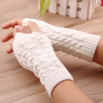 Arm Crochet Knitting faux Wool Mitten warm Fingerless Gloves