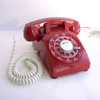 Vintage Red Rotary Dial 1960s Fire House Phone