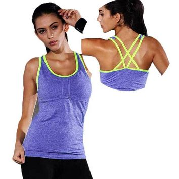 Women Pro Gym Sports Tank With Chest Pads T Shirt Yoga Workout Vest Fitness Training Exercise Running Clothing Compress Tee Top