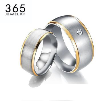 Top Qualitry New Trendy Lovers Wedding Rings Never Fade 316L Stainless Steel Couple Finger Ring For Party Gift