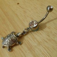 Belly button ring Silver turtle and clear gem by ChelseaJewels