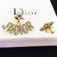DIOR Popular Women Classic Asymmetric Pearl Bee Earrings Jewelry Accessories