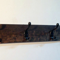 Rustic wood coat rack, wall mount coat rack,  distressed coat hook rack, entryway coat hook, entryway storage 4 hooks