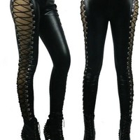 Woman Black Side Lace Up Faux Leather Gothic Tight Footless Ninth Pants Leggings (M)