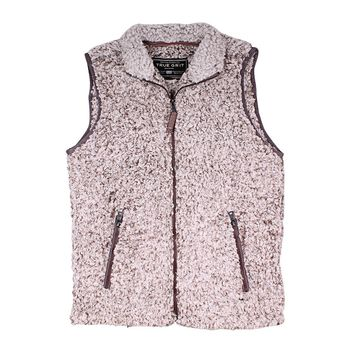 Frosty Tipped Double Up Vest in Brown by True Grit